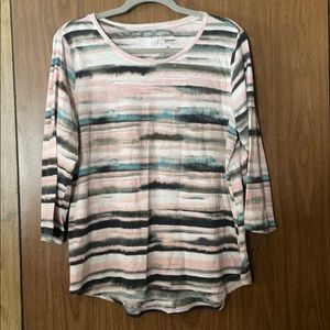 Stripped button down back top